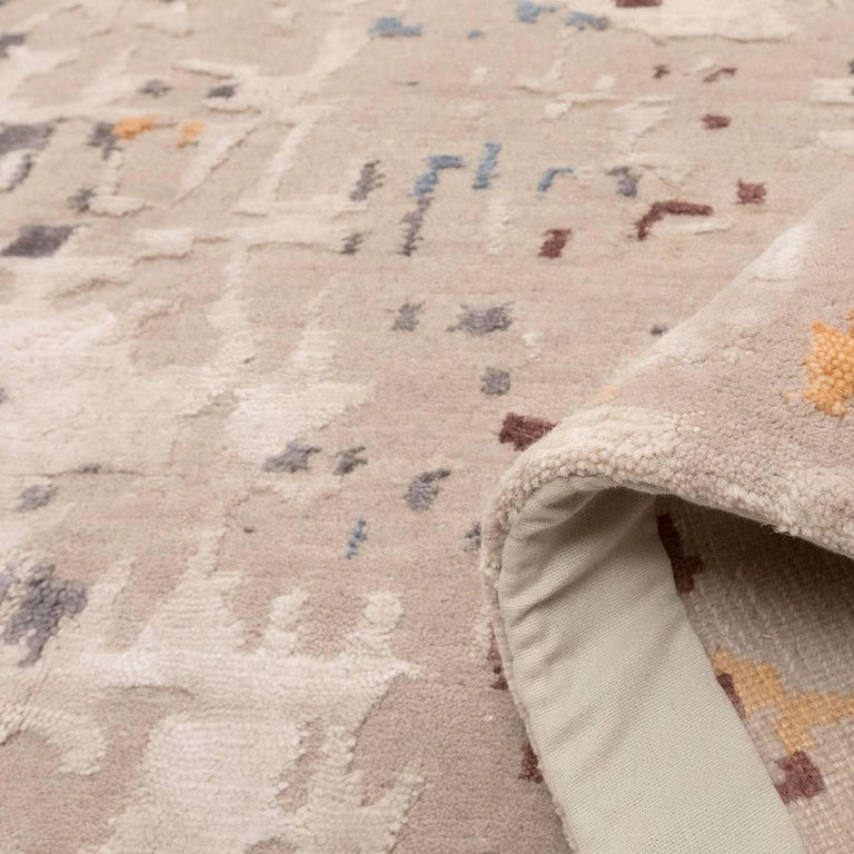 Wool and Silk Rug with Abstract Design in Beige Tones For Sale 2