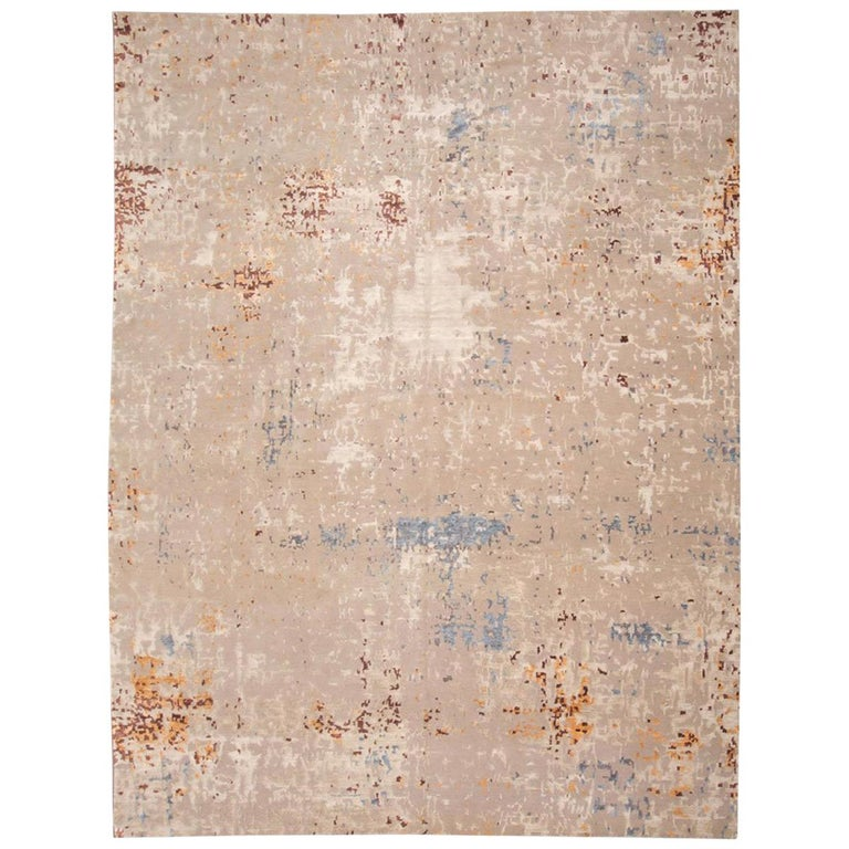 Wool and Silk Rug with Abstract Design in Beige Tones For Sale