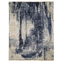 Wool and Silk Shibori Design Tone On Tone Hand Knotted Oriental Rug