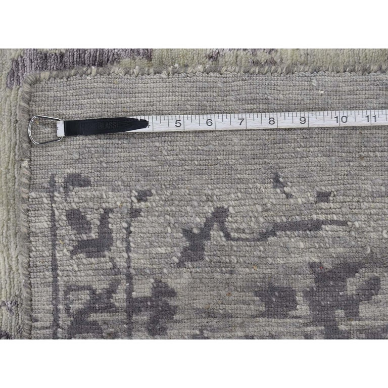 Wool and Silk Tabriz Broken Design Oriental Rug Hand Knotted For Sale 6