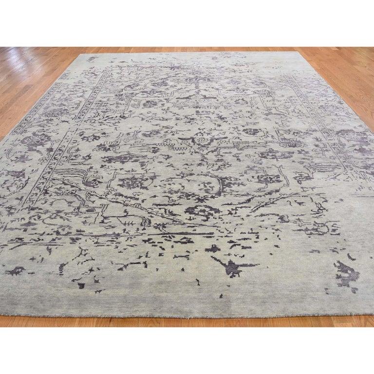 Afghan Wool and Silk Tabriz Broken Design Oriental Rug Hand Knotted For Sale