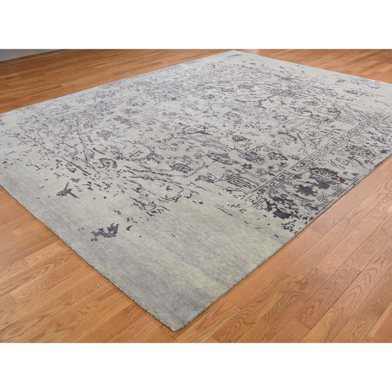 Hand-Knotted Wool and Silk Tabriz Broken Design Oriental Rug Hand Knotted For Sale