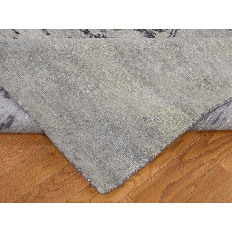 Wool and Silk Tabriz Broken Design Oriental Rug Hand Knotted For Sale 1
