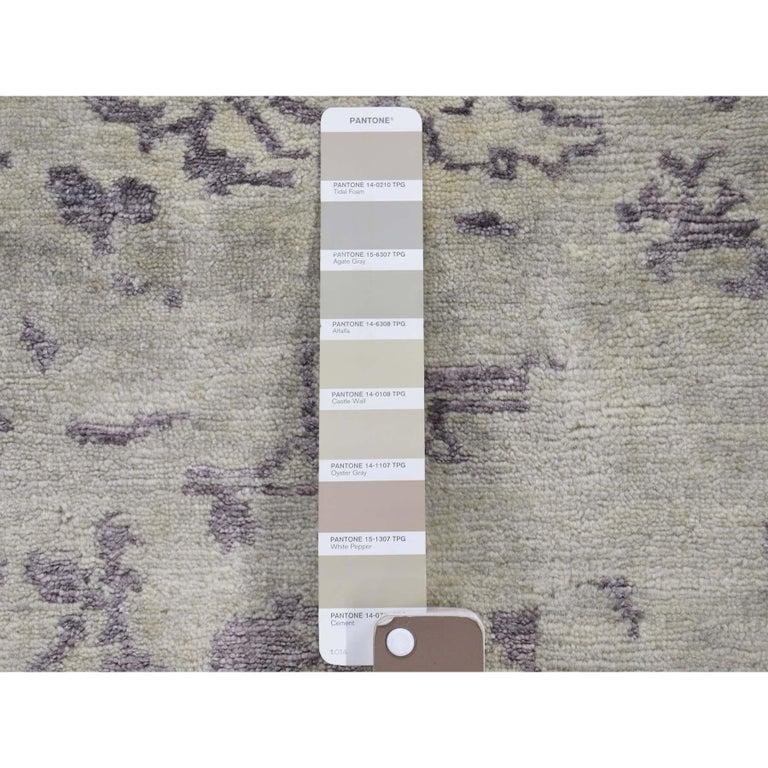 Wool and Silk Tabriz Broken Design Oriental Rug Hand Knotted For Sale 2