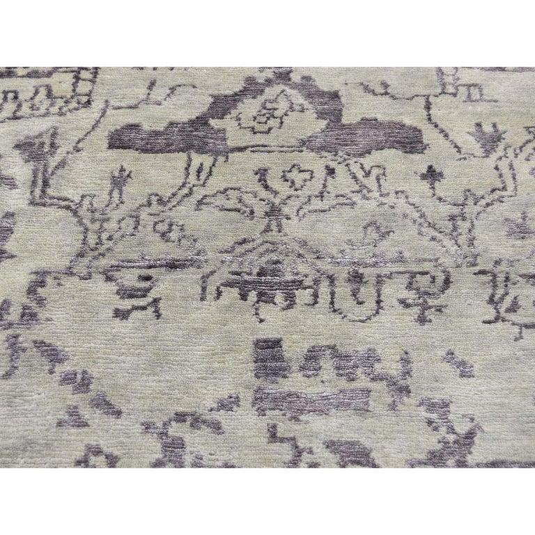 Wool and Silk Tabriz Broken Design Oriental Rug Hand Knotted For Sale 3