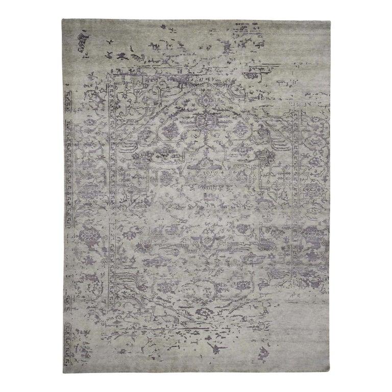 Wool and Silk Tabriz Broken Design Oriental Rug Hand Knotted For Sale