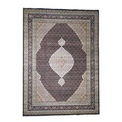 Wool and Silk Tabriz Mahi Design Hand Knotted Oriental Rug