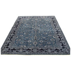 Wool and Silk Tone on Tone Kashan Hand Knotted Oriental Rug