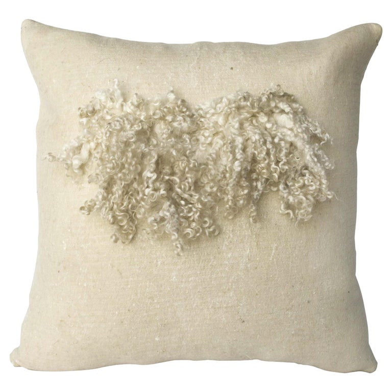 Wool and Silk Wensleydale Pillow, Heritage Sheep Collection For Sale