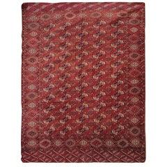 Wool Handmade Carpet Antique Rugs, Geometric Turkmen Tekke Red Oriental Rug