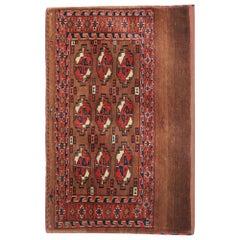 Wool Antique Rugs, Geometric Turkmen Yomut Accent Brown Carpet Rugs