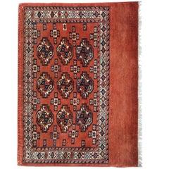 Rust Antique Rugs, Geometric Turkmen Yomut Oriental Brown Carpet Rugs