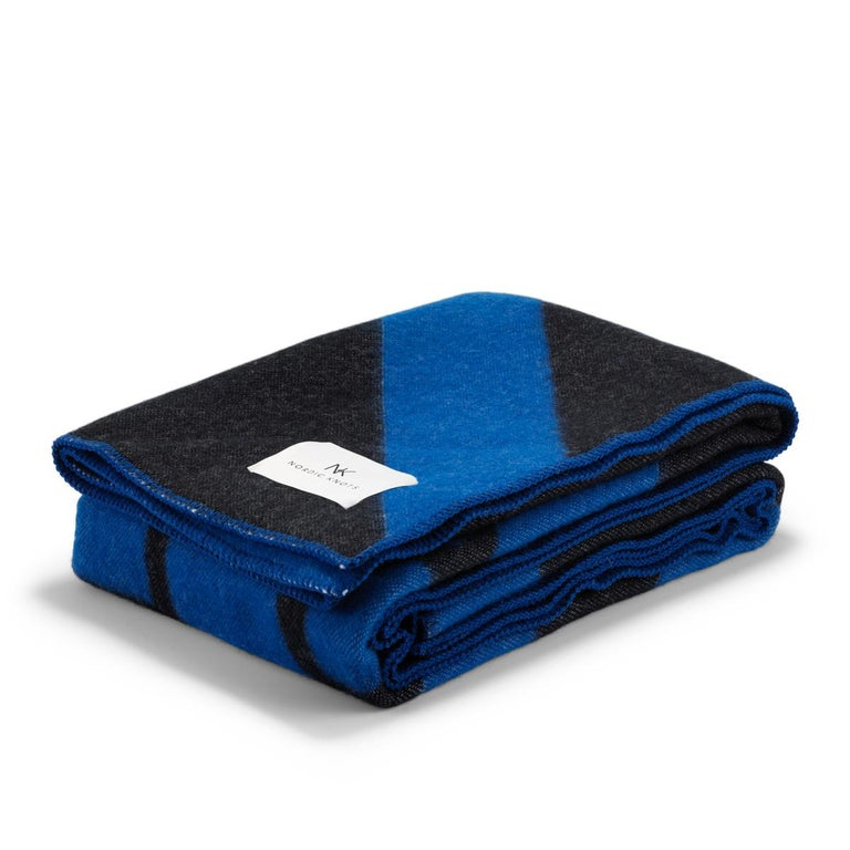 Modern Wool Blanket NK, Ultramarine For Sale