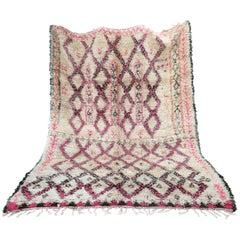 Wool Carpet  Moroccan Rug  Pink Beni Ourain Vintage, 1984