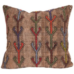 Wool Cicim Pillow Case Made from an Anatolian Cicim Kilim, Mid-20th Century