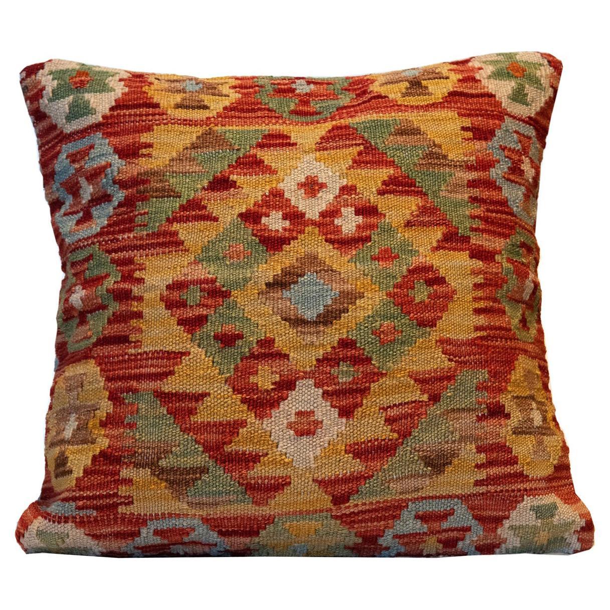 Wool Cushion Cover, Kilims Handwoven Vintage Orange Beige Scatter Pillow