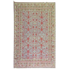 Wool Early 20th Century Khotan Gray Field Red Pomegranate Full Pile Rug