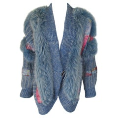 Wool Fox Fur coat vest with appliqués
