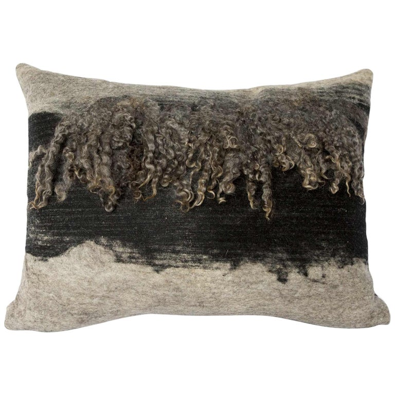 Wool Grey and Black Wensleydale Throw Pillow, Medium, Heritage Sheep Collection For Sale