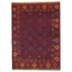 Wool Handmade Carpet Oriental Rug Traditional Deep Red Rugs Square Turkmen