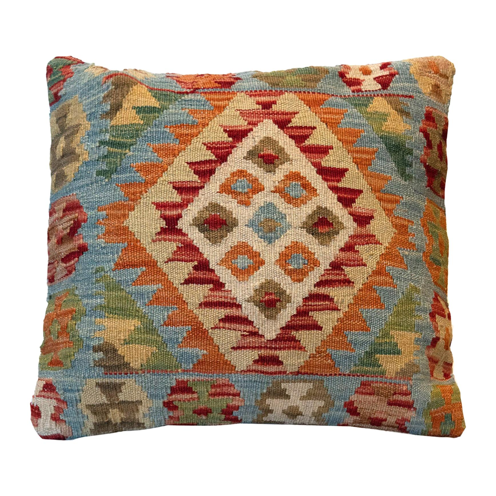 Wool Kilim Cushion Cover, Farmhouse Oriental Blue Pillow Case Orange
