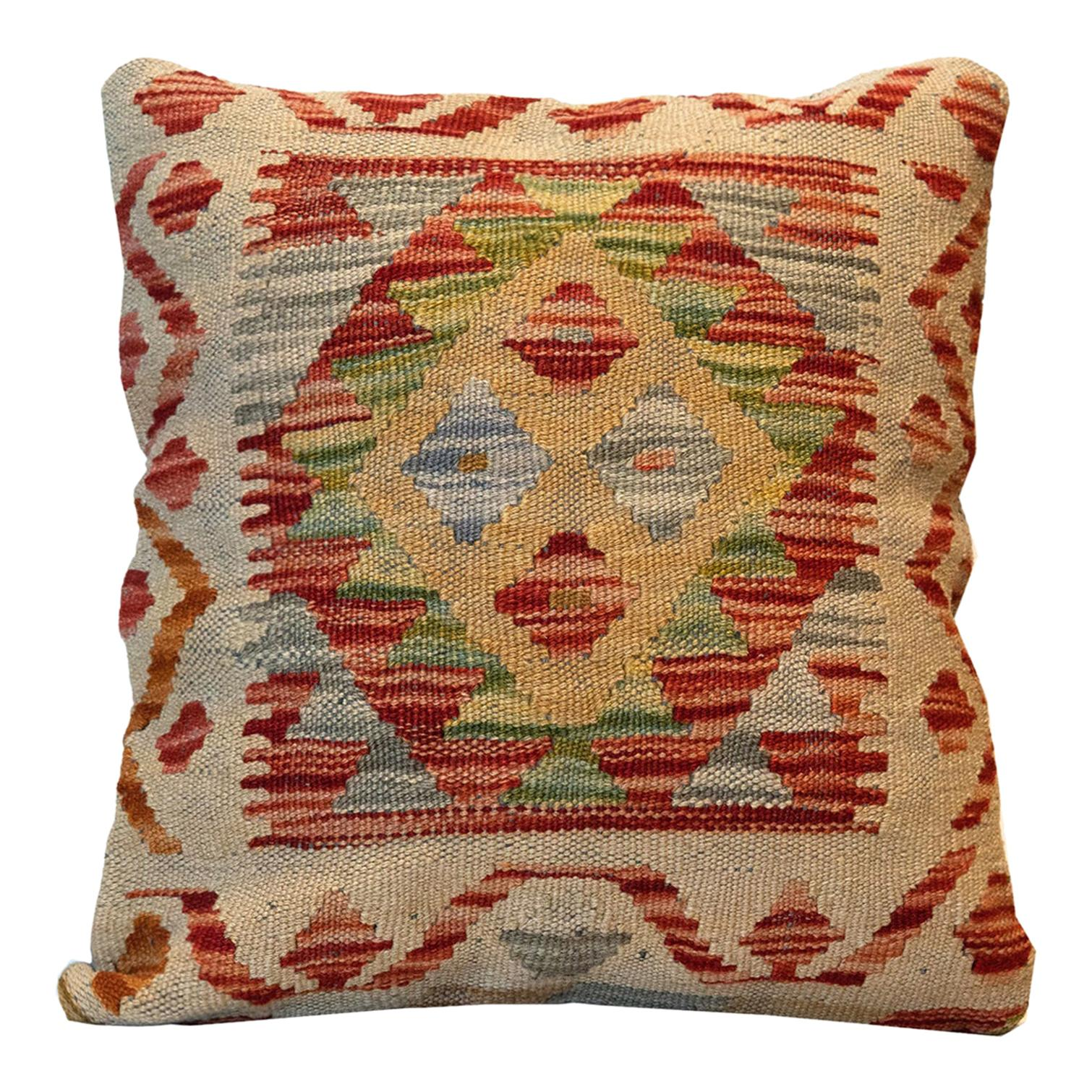 Wool Kilim Cushion Cover, Traditional Pillow Cover Handmade Beige