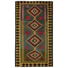 Wool Kilim Rug, Caucasian Flat Carpet Green Vintage Tribal Kilim Rugs