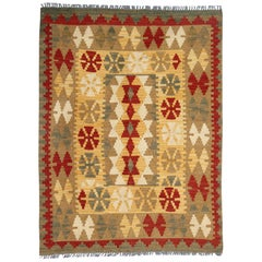Wool Kilim Rug Oriental Flatwoven Carpet Small Handwoven