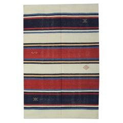 Wool Kilim Rug, Striped Rug Blue Red Carpet Handwoven Area Rug