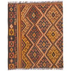 Wool Kilim Rugs Handmade Orange Geometric Brown Kilims Wool Carpet