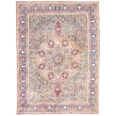 Wool Kirman Rug, Flowers, Leaves and Branches Design
