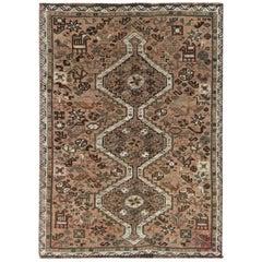 Wool Light Brown Persian Qashqai Vintage Worn Down Bohemian Handmade Rug