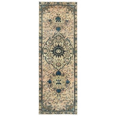 Wool Persian Qashqai Beige Semi Antique Sheared Low Bohemian Handmade Runner Rug