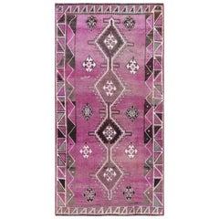 Wool Persian Shiraz Bohemian Vintage Worn Down Handmade Gallery Size Runner Rug