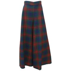 Wool Plaid Wide Leg High Waist Pants, 1970's