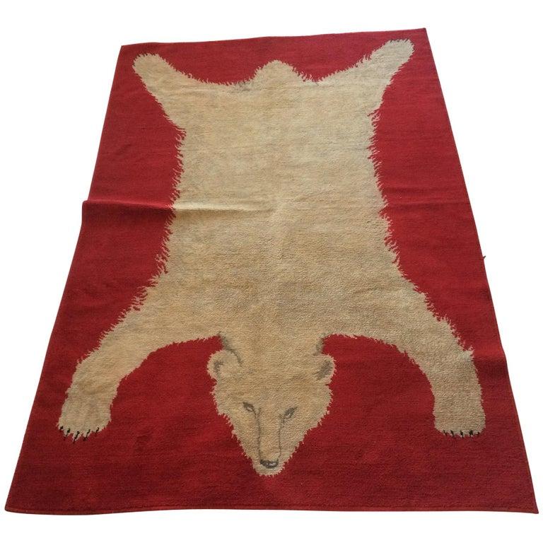 Wool Polar Bear Rug White on Red