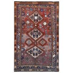 Wool Purple Hand Knotted Persian Shiraz Bohemian Old Sheared Low Rug