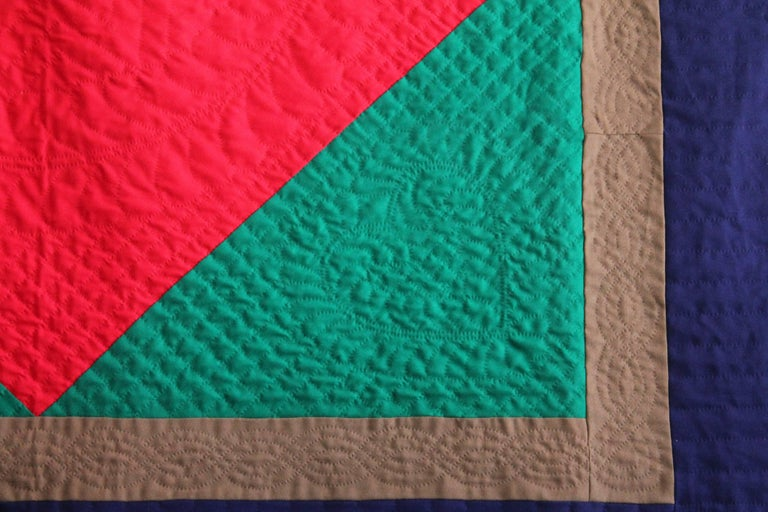 Country Wool Quilt Diamond in a Square / Lancaster County, Pennsylvania For Sale