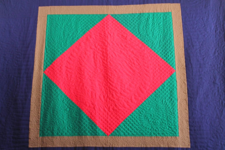 Wool Quilt Diamond in a Square / Lancaster County, Pennsylvania In Excellent Condition For Sale In Los Angeles, CA
