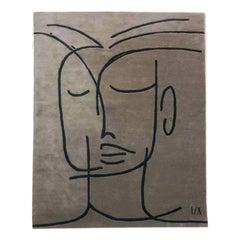 Wool Rug in black, beige, neutral, lines, portrait-Cecilia Setterdahl CarpetsCC