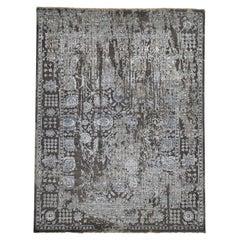 Wool & Silk Persian Tabriz Broken Design Hand Knotted Oriental Rug