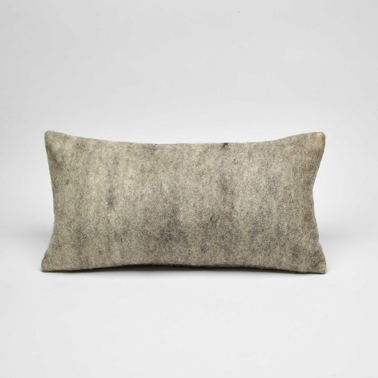 Organic Modern Wool Wensleydale Pillow Grey, Small - Heritage Sheep Collection For Sale