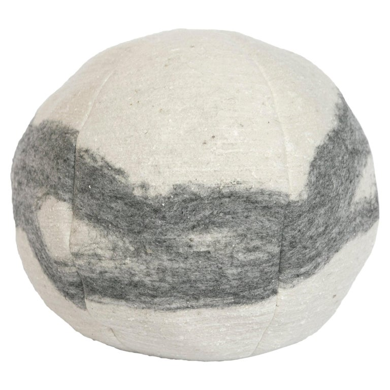 Wool Snowball Frosted Grey Pillow For Sale