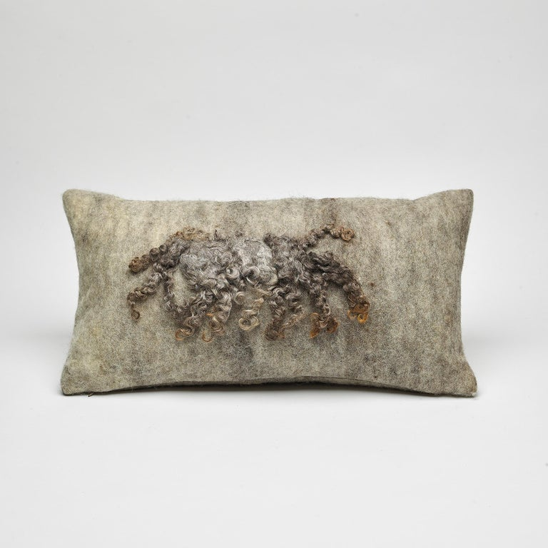 Wool Wensleydale Throw Pillow, Gray, Heritage Sheep Collection In New Condition For Sale In Sebastopol, CA