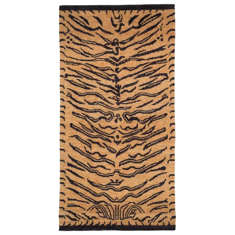 Wool Tibetan Tiger Rug by Carini For Sale