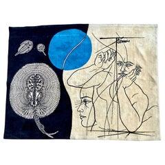 """Wool Wall Carpet """"Autoportrait aux Poissons"""" by Pierre-Yves Trémois"""