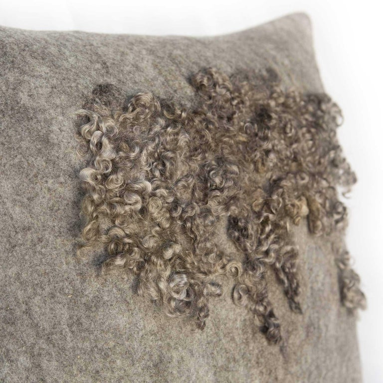 Milled in JG Switzer's design workshop, this pillow is named after the sheep that adorn its face, the soft, long-locked Wensleydale. Fabric Shetland wool, from Heritage Sheep on the