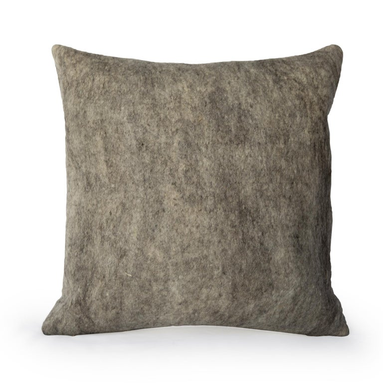 Organic Modern Wool Wensleydale Throw Pillow, Gray, Heritage Sheep Collection For Sale