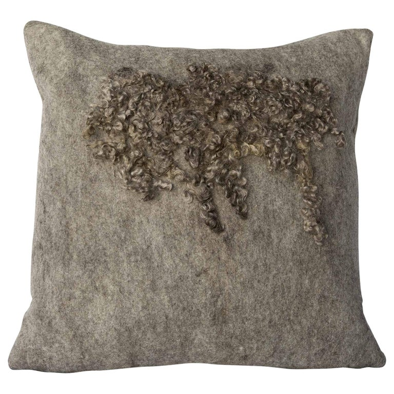 Wool Wensleydale Throw Pillow, Gray, Heritage Sheep Collection For Sale