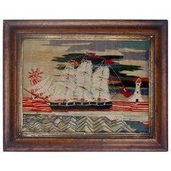 Wool Work Sailing Ship of a British Sloop Circa 1860